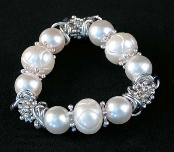 Silver Tone & White Beads Stretch Bracelet - 049-40154