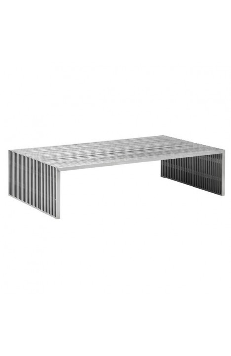 Novel Rectangular Coffee Table Brushed Stainless Steel
