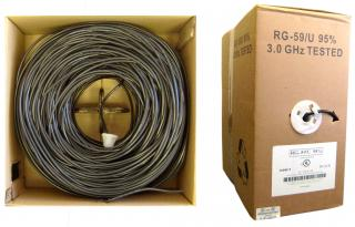 RG59U 20AWG, Solid Coaxial Cable, Black, 1000 ft, Pullbox - 10X3-022TH-20