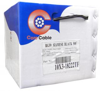 RG59 Siamese Solid Coaxial Cable + 18/2 (18AWG 2C) Power, Black, 500 ft, Pullbox - 10X3-18222TF