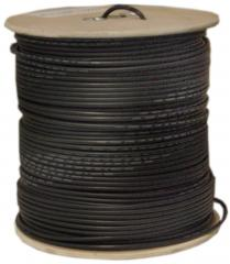 RG6 18AWG, Solid Coaxial Cable, Black, 1000 ft, Spool - 10X4-022NH