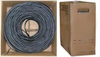 RG6 18AWG, Solid Coaxial Cable, Black, 1000 ft, Pullbox - 10X4-022TH