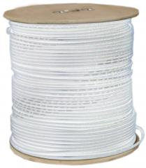 RG6 18AWG, Solid Coaxial Cable, White, 1000 ft, Spool - 10X4-091NH