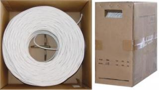 RG6 18AWG, Solid Coaxial Cable, White, 1000 ft, Pullbox - 10X4-091TH