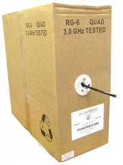 RG6 18AWG, Solid Quad-Shielded Coaxial Cable, Black, 1000 ft, Pullbox - 10X4-122TH