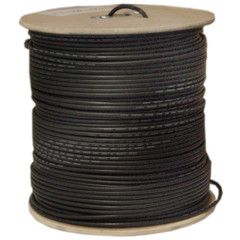 Bulk RG6 Siamese Coaxial/Power Cable, Black, Solid Core (Copper), 95% Braid, Coax, 18/2 (18 AWG 2 Conductor) Copper Power, Spool, 1000 foot - 10X4-18222NH