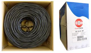 RG6 18AWG, 3 ghz Solid Pure Copper Coaxial Cable, 95% Copper Braid, Pullbox Style, Black, 1000 ft - 10X4-322TH