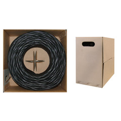 CAT5E, UTP, Bulk Cable, Solid, 350MHz, 24 AWG, Black, 1000 ft - 10X6-022TH - 10X6-022TH