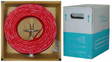 CAT6, STP (Shielded), 23AWG, Solid, 500MHz, Bulk Cable, Red, 1000 ft, Spool - 10X8-571NH