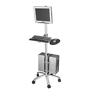 Aluminum Mobile Computer Workstation Cart