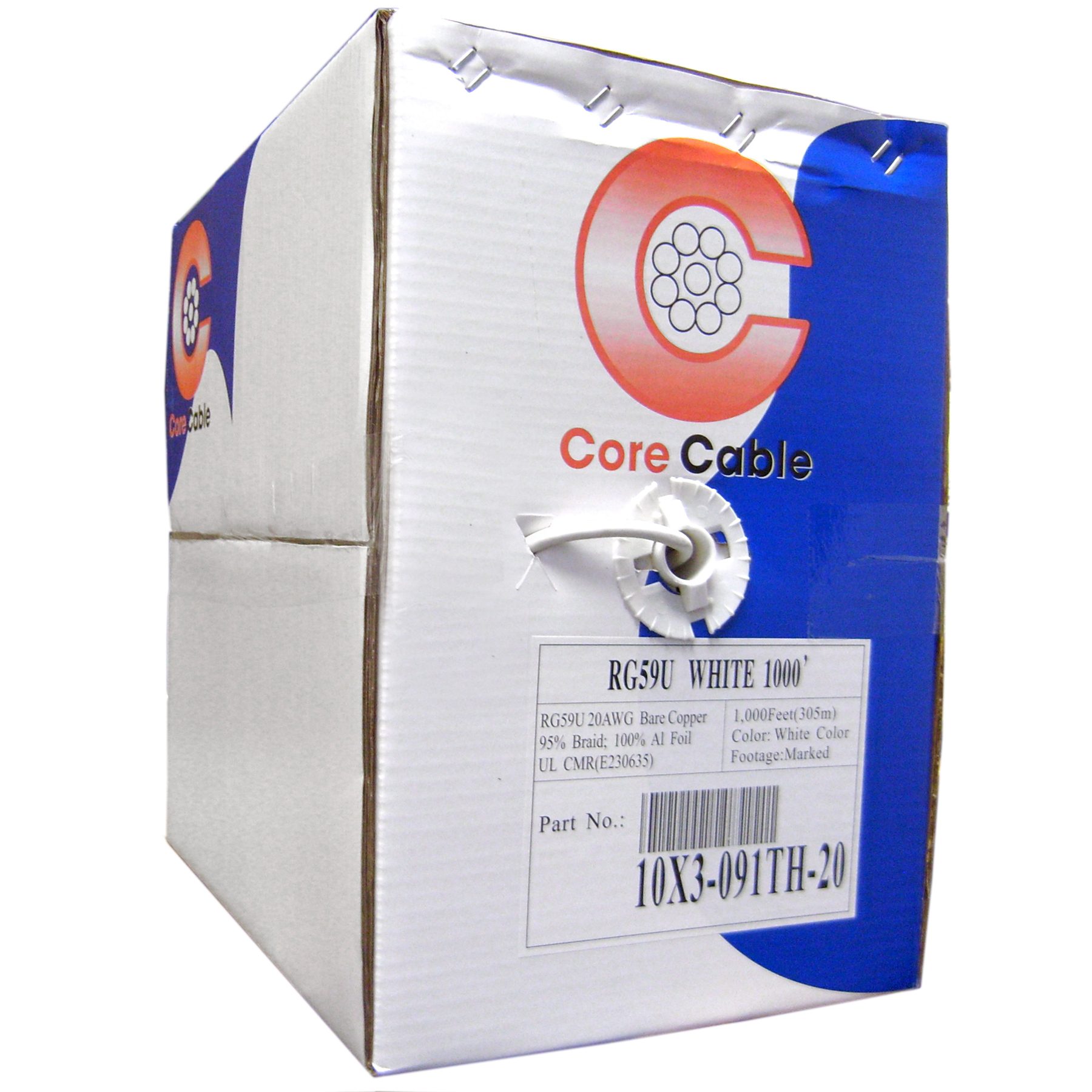 RG59 20AWG, Plenum Solid Coaxial Cable, Pullbox Style, White, 1000 ft - 11X3-091TH-20 - 11X3-091TH-20