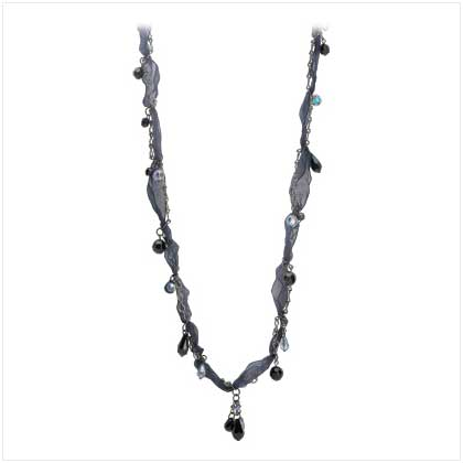 Midnight Blue Ribbon Necklace - 13426