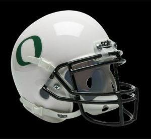 Oregon Ducks Schutt Mini Helmet -  White w/DG Decal Alternate Helmet - 1419510551