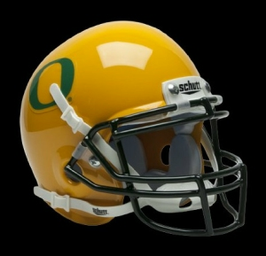 Oregon Ducks Schutt Mini Helmet -  Gold w/DG Decal Alternate Helmet