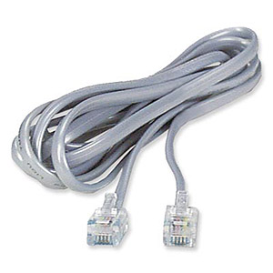 RJ11 6p6c Modular Flat Phone Cable, Silver, 25ft