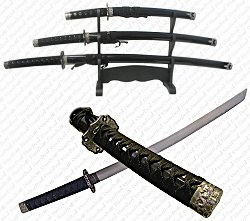 Black Belt Katana Super Set - 3 Piece - 20-021B