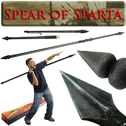 Spartan Warrior Spear - Suede Leather Grip - 7 Feet Long - 20-3003