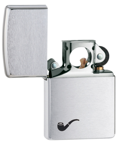 Brushed Chrome Pipe Lighter - 200PL - 200PL_jb