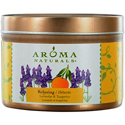 Relaxing Aromatherapy By Relaxing Aromatherapy One 2.5x1.75 Inch Tin Soy Aromatherapy Candle.  Combines The Essential Oils Of Lavender And Tangerine To Create A Fragrance That Reduces Stress.  Burns Approx. 15 Hrs - 229347.FragN