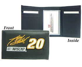Tony Stewart Embroidered Leather Tri-Fold Wallet - 2499429507