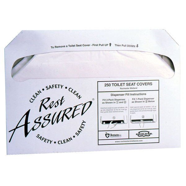 ROCHESTER MIDLAND CORP Rest Assured? Half-Fold Toilet Seat Covers - 25187973RMC - 25187973RMC