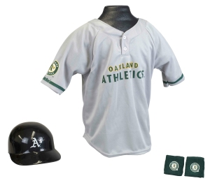 Oakland Athletics Baseball Helmet and Jersey Set