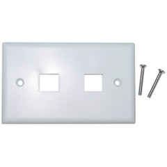 2 Hole for keystone Jack Wall Plate, White - 301-2K-W