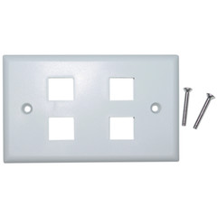 4 Hole for keystone Jack Wall Plate, White - 301-4K-W