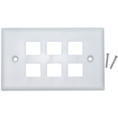 6 Hole for keystone Jack Wall Plate, White - 301-6K-W