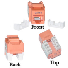 CAT5E, RJ45 Keystone Jack, 110 Style, Orange Color - 310-120OR