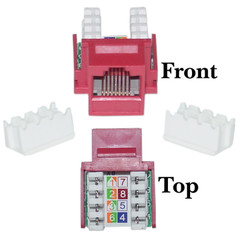 CAT5E, RJ45 Keystone Jack, 110 Style, Red Color - 310-120RD