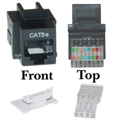 CAT5E, RJ45 Keystone Jack, Tooless, Black Color - 311-120BK