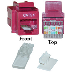 CAT5E, RJ45 Keystone Jack, Tooless, Red Color - 311-120RD