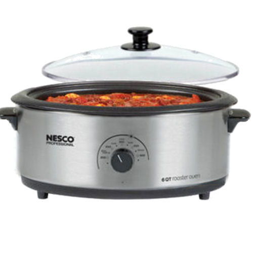 Nesco 6 Quart Stainless Steel Roaster Oven - Porcelain - Glass Cover - 4816-25PRG - 4816-25PRG