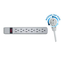 Flat Rotating Plug Power Strip, 6 Outlet, Gray Horizontal Outlets, Plastic, Power Cord 15 foot - 51W1-19215