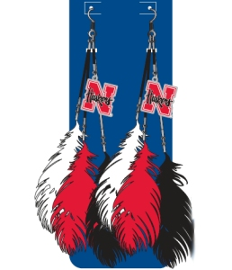 Nebraska Huskers Team Color Feather Earrings - 8669915449