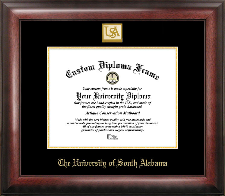 University of South Alabama Gold Embossed Diploma Frame