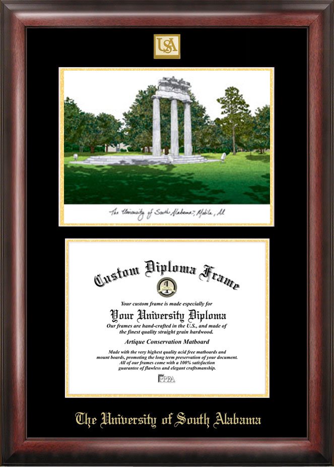 University of South Alabama Gold embossed diploma frame with Campus ...