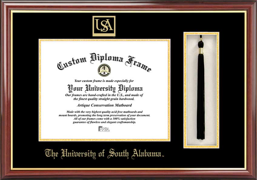 University of South Alabama  Tassel Box and Diploma Frame