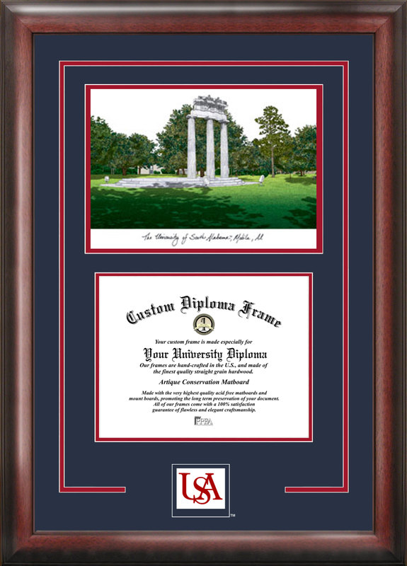 University of South Alabama Spirit Graduate Frame with Campus Image