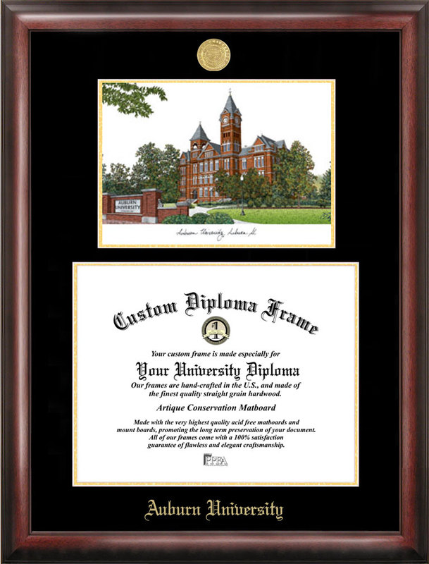 Auburn University Gold embossed diploma frame with Campus Images lithograph