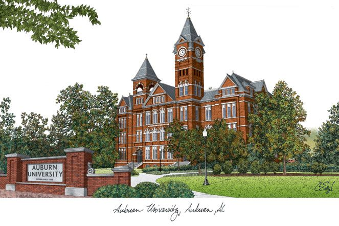 Auburn University Campus Images Lithograph Print