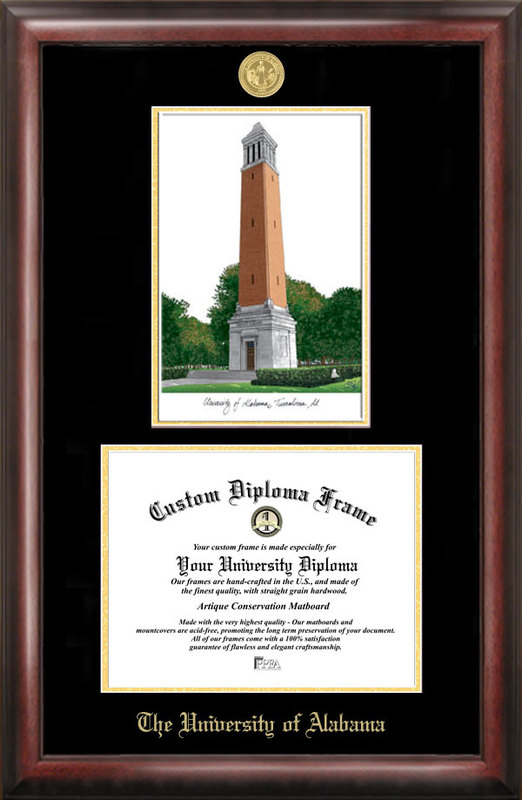 University of Alabama, Tuscaloosa Gold Embossed Diploma Frame with Campus Images Lithograph