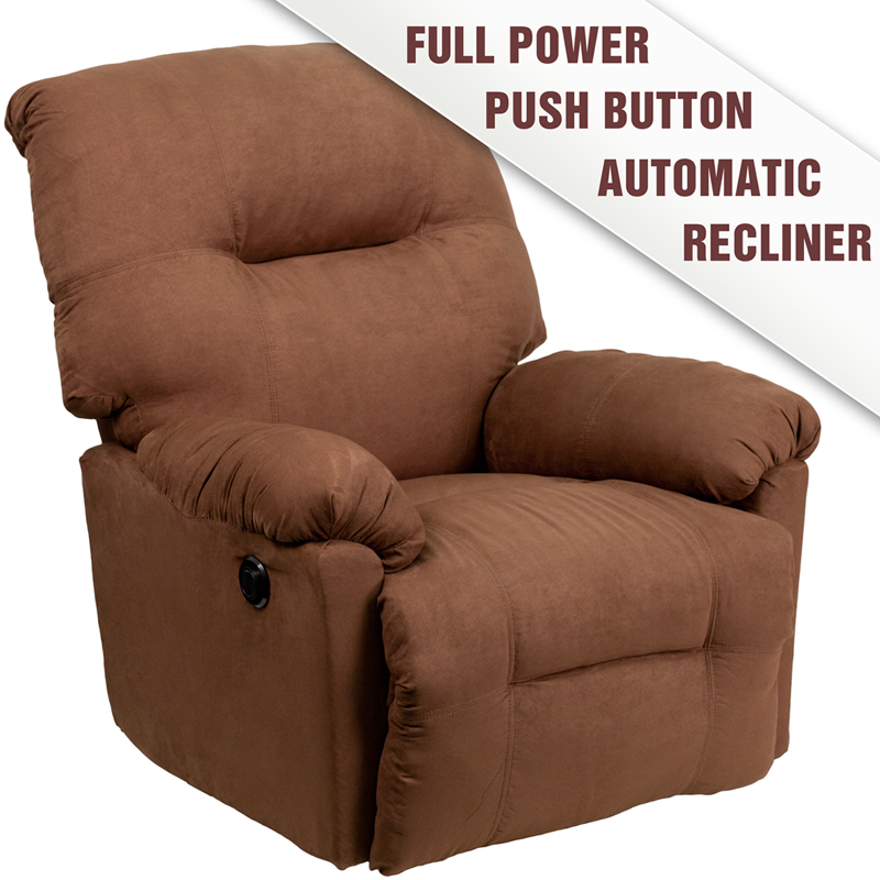 Contemporary Calcutta Chocolate Microfiber Power Chaise Recliner - AM-P9350-2550-GG