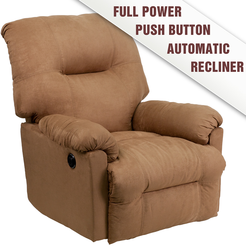 Contemporary Calcutta Camel Microfiber Power Chaise Recliner - AM-P9350-2600-GG