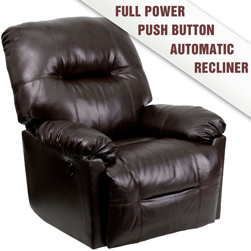 Contemporary Bentley Brown Leather Chaise Power Recliner - AM-P9350-9075-GG