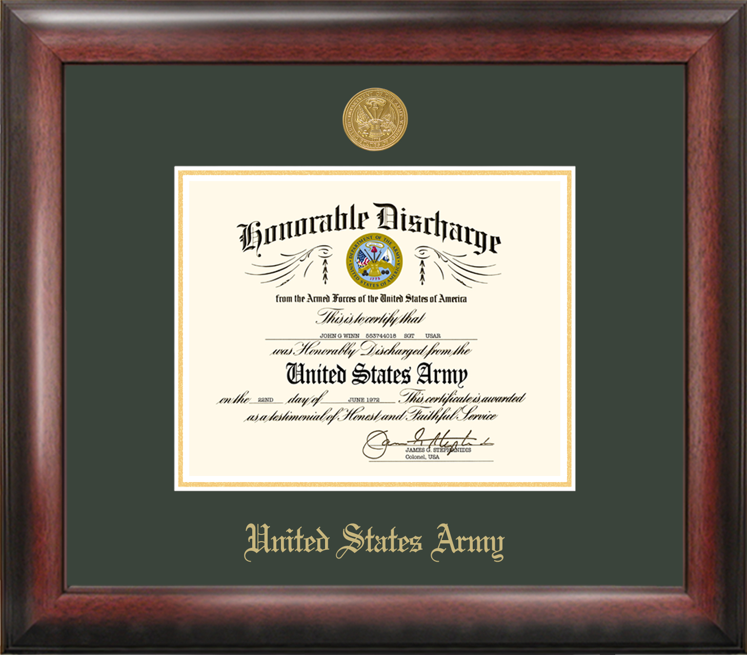 Army Discharge Frame Gold Medallion