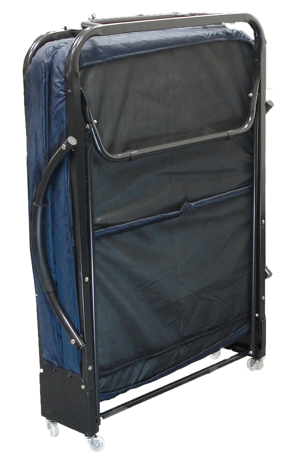 Twin size Rollaway Folding Bed, Dark Blue w Foam Mattress and Handle Bars