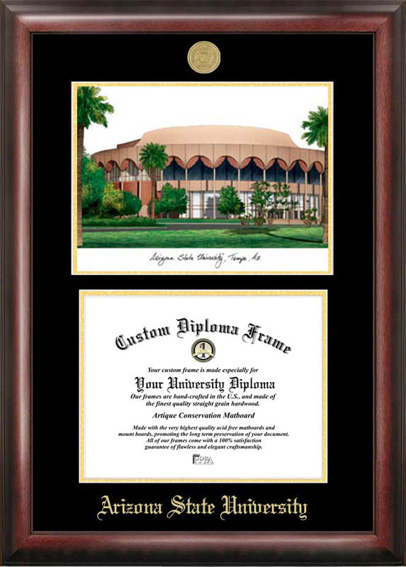 Arizona State University Gold embossed diploma frame with Campus Images lithograph