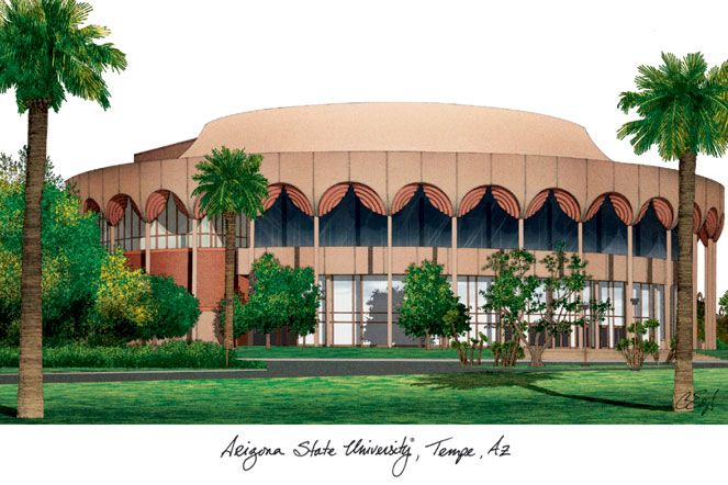Arizona State University Campus Images Lithograph Print